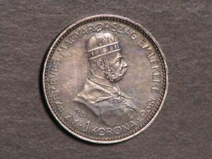 HUNGARY 1896 1 Korona Silver XF-AU