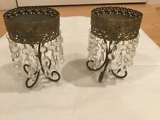 Two Metal  Candle Holder Candelabra Vintage Dropper Wedding Chic Gift