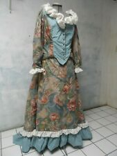 Victorian bustle Cotton floral Striped lace Dress sz 20