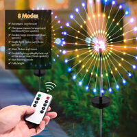 100/200 LED Solar Firework Lights Remote Outdoor Path Lawn Garden Decor Lamp