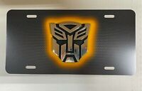 Transformer Transformers Autobot Metal Carbon Chrome 3D Emblem License Plate NEW