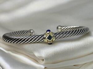David Yurman 925 Renaissance Cable Bracelet Blue Topaz, Lapis Lazuli 14K Gold