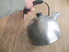 """TEA KETTLE copper (?) GIANT modern ART DECO 10"""" H x 11"""" Widest OLD PANTRY FIND"""