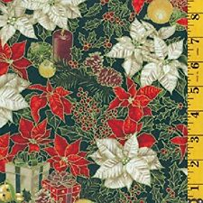 Fat Quarter Celebrate the Season Christmas Flowers Cotton Quilting Fabric