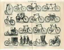 c1900 OLD BICYCLES MOTORCYCLES Antique Engraving Print