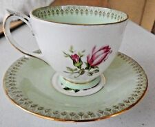 """Beautiful """"Clarence"""" Bone China Tea Cup and Saucer Green with Rose ~ Gold Trim"""