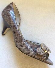 New Anne Klein Roselyn Tan Brown Snake Peektoe Heels Buckle sz 9 M
