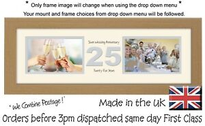 "25th Anniversary Photo Frame Silver Wedding Two Box x2 6""x4"" Photos 1232A"