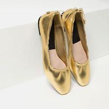 Zara Gold Metallic Ballerinas Flats Size Eur 39 UK 6 US 8 Sold Out