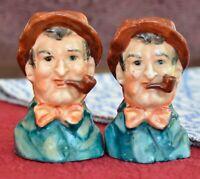 Vintage Man Salt & Pepper Shakers Head Bust Dressed Bonnet Bow Tie Pipe Japan