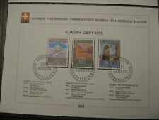Switzerland  Special Stamps! 9 pieces, 1st Day Issue,  1975 complete year.