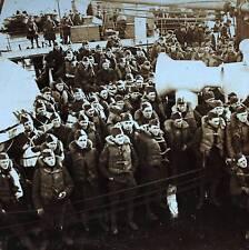 WW1 Maritime Stereoview - Submarine Abandon Ship Preparation - US Army Navy