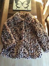 Women's River Island Faux Fur 3/4 Sleeve Leopard Print Jacket. Size 10.