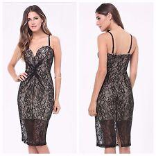 BEBE BLACK SHEILA LACE DEEP V DRESS NWT NEW $139 XSMALL XS 2