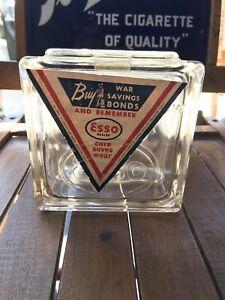 VINTAGE GLASS BRICK ADVERTISING ESSO OIL COIN BANK WWII WAR SAVINGS BONDS PROMO
