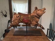 Antique folk art Hand Carved wooden Carousel Pig Horse animal