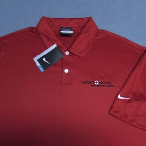 NIKE DRI FIT POLY GOLF SHIRT--XL-MOUNT MICHAEL--SOLID RED--UNWORN!!--NEW!!TAGS!!