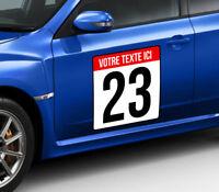 2 STICKERS PORTIERES FOND BLANC 40x40cm NUMERO RALLYE COURSE AUTO FIA  NU014-2