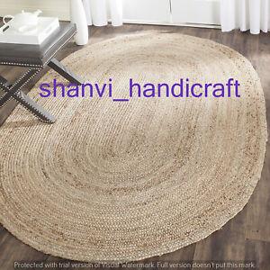 Oval Shape Natural Indian Braided Area Rug Natural Rag Jute Mat Floor Carpet Rug