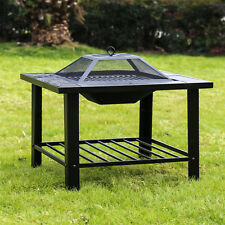 """30"""" Firepit Square Metal Backyard Wood Burning Outdoor Stove Cooking Garden Home"""
