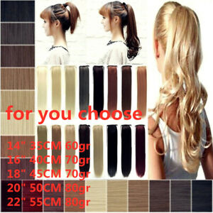 New One Piece Human Hair Wrap Around Ponytail Clip In Hair Extensions for Summer