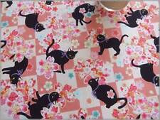 Cotton  Black Cat with Pink Flower Patterns 110 x 50 cm 1A- Japanese Fabric