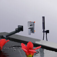 Black Waterfall Wall Mount Tub Spout Filler Bathtub Faucet Hand Shower Mixer Tap