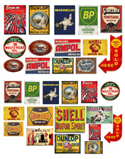 1/18 scale Pre-cut Vintage style Garage sign gloss stickers diorama/model car
