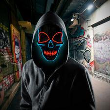 LED Light Up Skull Face Mask Flashing Luminous Halloween Costume Party Decor