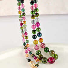 5.5mm-11.8mm Tourmaline Smooth Round Globe Bead Necklace 14K Diamond clasp