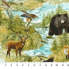 Mountain Springs Animals Deer Bear Northcott Quilt Fabric by the 1/2 yard