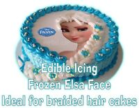 Edible FROZEN Elsa Braid Face Braided Hair Cakes Icing Topper LEFT FACING