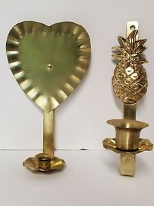 Brass Vintage Wall Hanging Candle Holders Lot of 2 Heart & Pineapple USA 💖 🌞