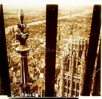 FRANCE Rouen Vue depuis la Cathédrale ca 1910, Photo Stereo Vintage Plaque Verre