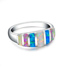 Colorful Fire Opal Silver Ring White Blue Red Fire Opal  Wedding Ring size 7