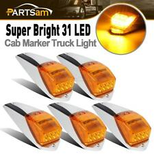 5pcs Amber Chrome 31 LED Cab Marker Roof Lights for Peterbilt Kenworth Volvo