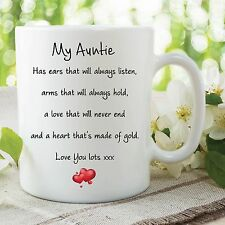 Auntie Mug Love You Lots Heart Of Gold Birthday Gift Christmas Cup WSDMUG586