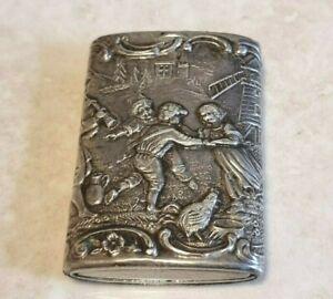 Antique 830 Silver Match Vesta Case