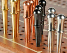 """Metal Cribbage Pegs 12-Classic 3/32"""" 3-Brass,3-Copper,3-St.Steel, 3-Black USA z"""