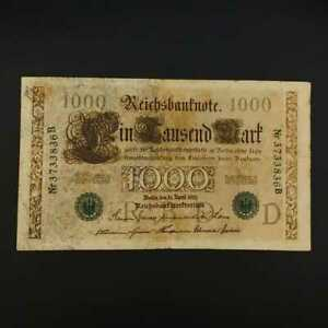 German World War Period 1910 1000 Mark green seal Reichsbanknote fine Lot b