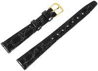 Echt-Leder Uhren Armband Schwarz Gold 13 mm Dornschließe Ersatzband X8000025130