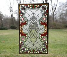 "20.75"" x 34.75"" Stunning Jeweled Handcrafted stained glass panel"
