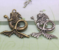 8/25pcs 29x29mm Antique Silver bronze Lovely  mermaid Charms Pendant