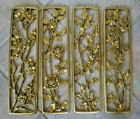 Set 4 Vintage Syroco 4 Seasons Molded 1950s Gold MCM Wall Art Grouping Plaques