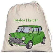 PERSONALISED - GREEN MINI - LARGE COTTON DRAWSTRING BAG - PE Kit - CAR