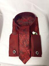 NEW Lanutta  Burgundy Shirt  & Tie  Box Set LARGE  L305-1- *SALE* VALENTINES DAY