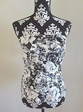 WHITE HOUSE BLACK MARKET Tiered Floral Bustier Black, Grey, White 10 - $88 - NWT