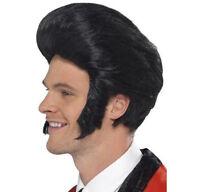 Mens 50s Quiff King Wig w Sideburns 60s Elvis Rock Roll Retro Fancy Dress Grease