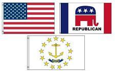 3x5 American & Republican & State of Rhode Island Wholesale Set Flag 3'x5'