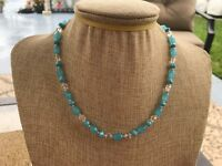 Handmade Necklace of Turquoise Blue and Clear Glass Beads w/ Silver Tone Spacers